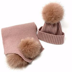 La Fiorentina Genuine Fox Fur Pompom Scarf Set,NEW